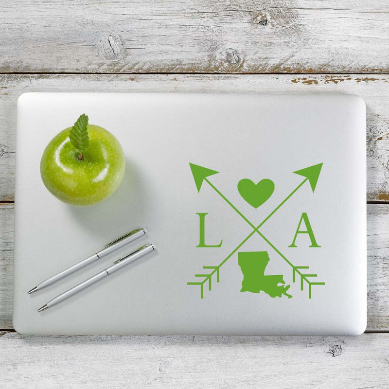 Louisiana Love Cross Arrow State LA Decal Sticker for Car Window, Laptop and More. # 1083