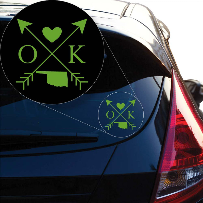 Oklahoma Love Cross Arrow State OK Decal Sticker for Car Window, Laptop and More. # 1101