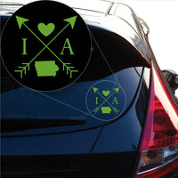 Iowa Love Cross Arrow State IA Decal Sticker for Car Window, Laptop and More. # 1077