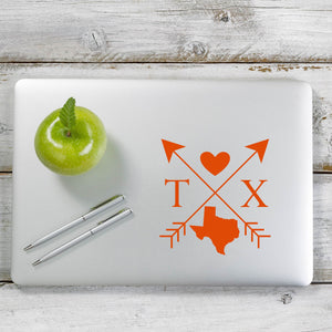 Texas Love Cross Arrow State TX Decal Sticker for Car Window, Laptop and More. # 1108