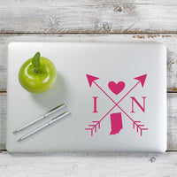 Indiana Love Cross Arrow State IN Decal Sticker for Car Window, Laptop and More. # 1080