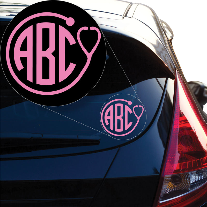 Monogram with Stethoscope border Decal Sticker for Car Window, Laptop and More. # 1126