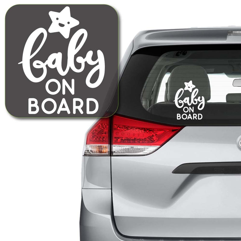 Baby On Board Happy Star Decal Sticker for Car Window, Laptop and More # 992