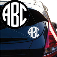 Custom Circle Monogram Decal Sticker for Car Window, Laptop and More # 962