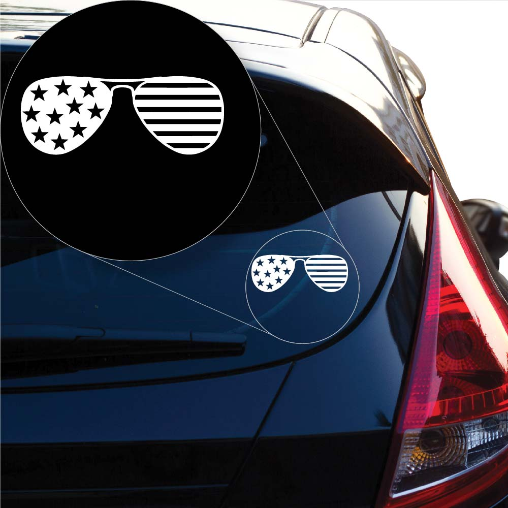 American flag sun glasses Decal Sticker for Car Window, Laptop and More. # 1037