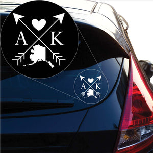 Alaska Love Cross Arrow state AK Decal Sticker for Car Window, Laptop and More. # 1066