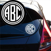 Circle Monogram Decal Sticker for Car Window, Laptop and More. # 1065