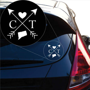 Connecticut Love Cross Arrow State CT Decal Sticker for Car Window, Laptop and More. # 1072