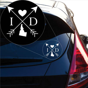 Idaho Love Cross Arrow State ID Decal Sticker for Car Window, Laptop and More. # 1078
