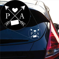 Pennsylvania Love Cross Arrow State PA Decal Sticker for Car Window, Laptop and More. # 1103