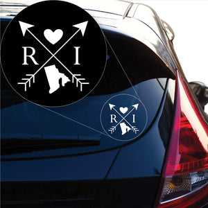 Rhode Island Love Cross Arrow State RI Decal Sticker for Car Window, Laptop and More. # 1104