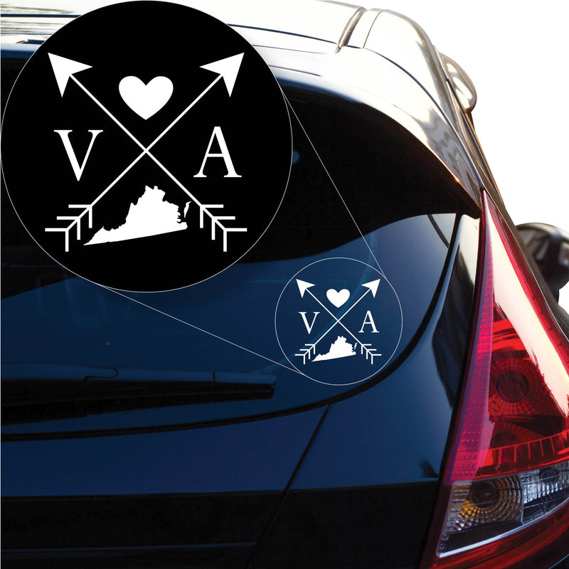 Virginia Love Cross Arrow State VA Decal Sticker for Car Window, Laptop and More. # 1110