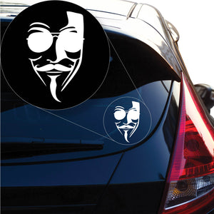 Anonymous distinctive signature mask Decal Sticker for Car Window, Laptop and More. # 1226