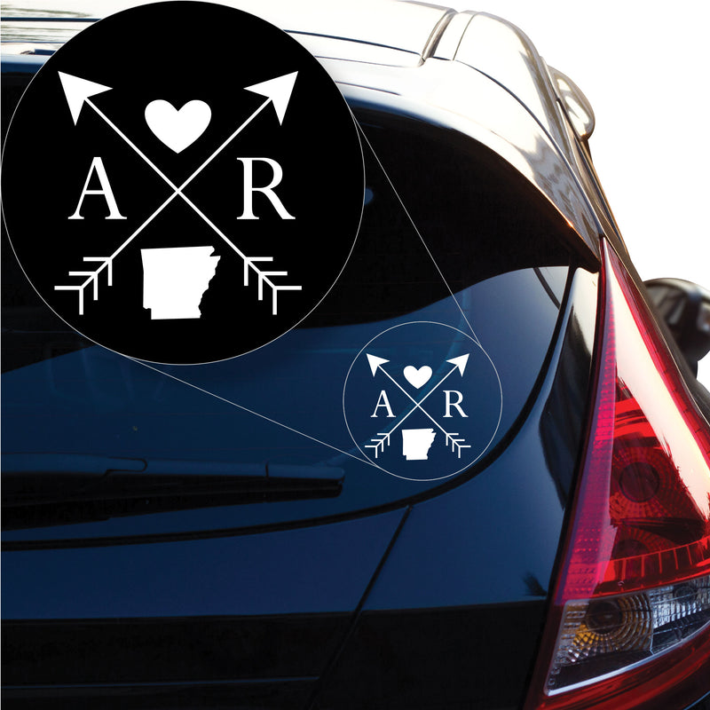 Arkansas Love Cross Arrow State AR Decal Sticker for Car Window, Laptop and More. # 1068
