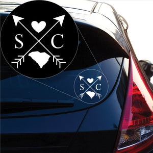 South Carolina Love Cross Arrow State SC Decal Sticker for Car Window, Laptop and More. # 1105