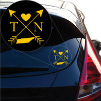 Tennessee Love Cross Arrow State TN Decal Sticker for Car Window, Laptop and More. # 1107