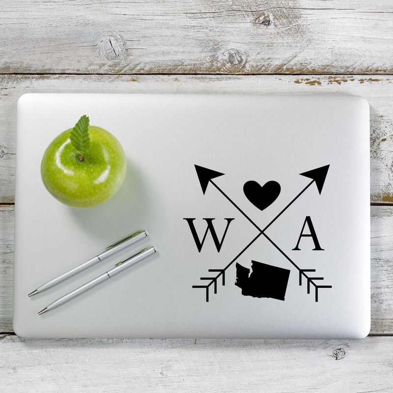 Washington Love Cross Arrow State WA Decal Sticker for Car Window, Laptop and More. # 1112