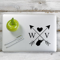 West Virginia Love Cross Arrow State WV Decal Sticker for Car Window, Laptop and More. # 1114