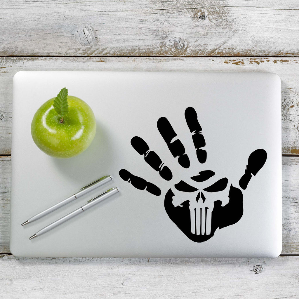 Hand Print Punisher Skull Decal Sticker for Car Window, Laptop and More. # 1164