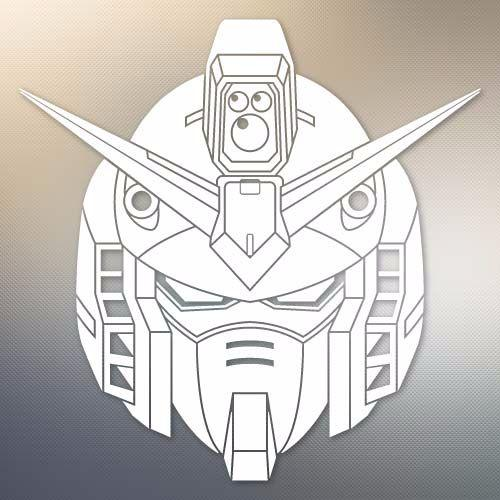 Laptop and More # 939 Yoonek Graphics Gundam Wing Decal Sticker for Car Window 8 x 8 8 x 8, White Laptop and More # 939