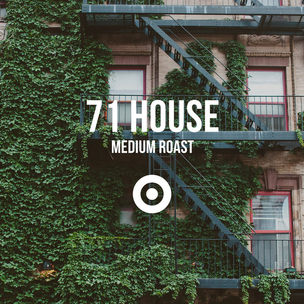 71 House Medium Roast - Irving Farm New York Coffee. Text over a picture of a fire escape with ivy growing on it.