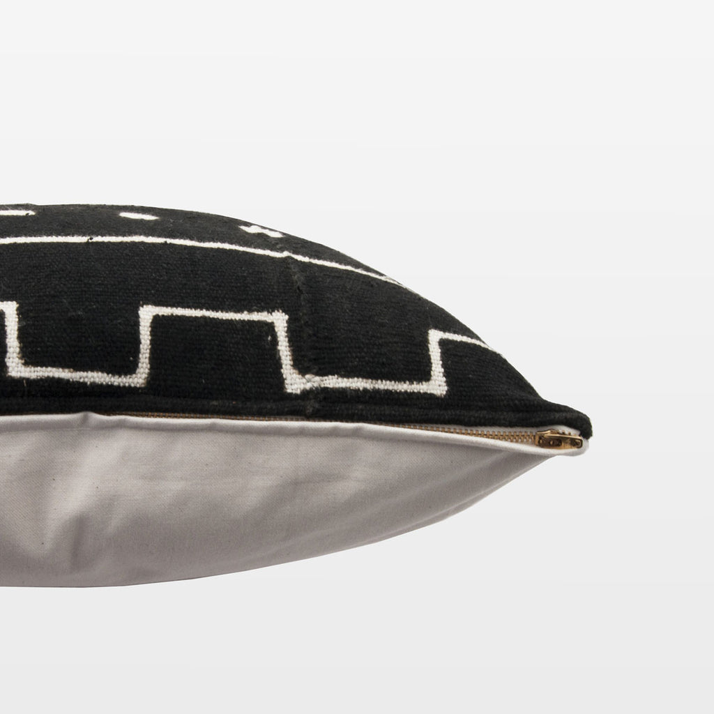 Black Mudcloth Square Pillow