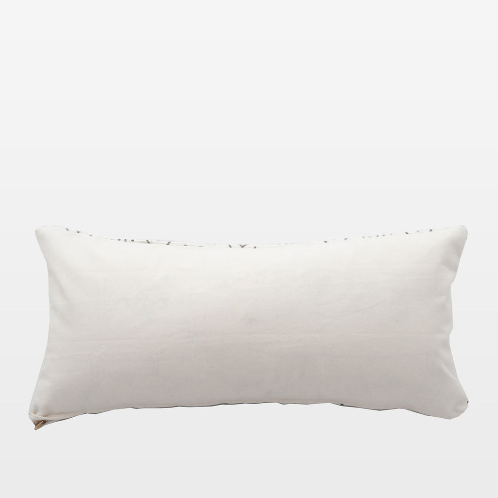 White Mudcloth Lumbar Pillow