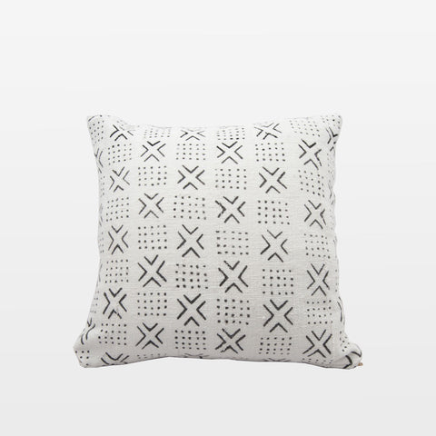White Mudcloth Square Pillow