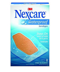 Nexcare Waterproof Clear Bandage, Knee and Elbow, 8/Box