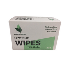 Peppina 70% Alcohol Wipes (20/Box)