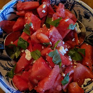Watermelon Strawberry Caprese Salad