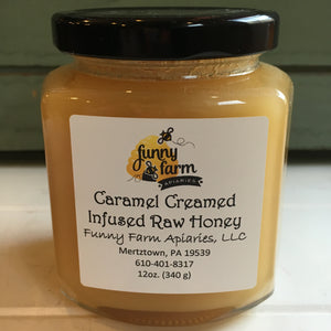 Caramel  Creamed Infused Raw Honey, 12 oz - A Taste of Olive