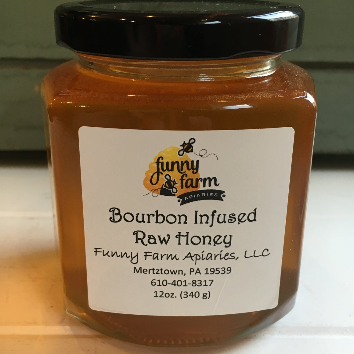 Bourbon Infused Raw Honey, 12 oz - A Taste of Olive