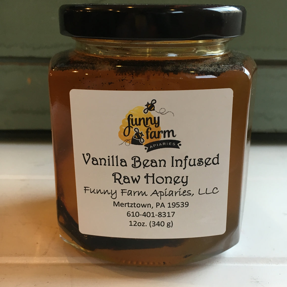 Vanilla Bean Infused Raw Honey, 12 oz - A Taste of Olive