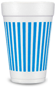 Pre-Printed Styrofoam Cups<br> Stripes (blue)