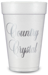 Pre-Printed Styrofoam Cups<br> Country Crystal (silver)