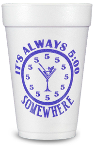 Pre-Printed Styrofoam Cups<br> 5:00 Somewhere (purple)