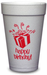 Pre-Printed Styrofoam Cups<br> Happy Birthday