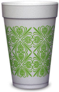 Pre-Printed Styrofoam Cups<br> Patterns (lime)