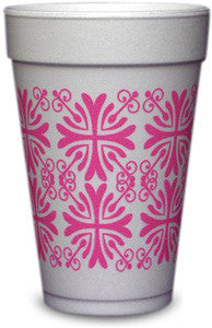 Pre-Printed Styrofoam Cups<br> Patterns (hot pink)