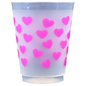 Pre-Printed Frost-Flex Cups<br> Hearts (hot pink)