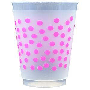Pre-Printed Frost-Flex Cups<br> Polka Dots (hot pink)