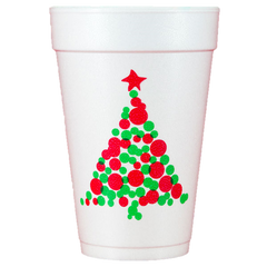 Pre-Printed Styrofoam Cups<br> Christmas Tree