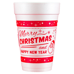 Pre-Printed Styrofoam Cups<br> Merry Christmas and Happy New Year