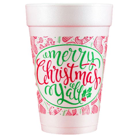 Pre-Printed Styrofoam Cups<br> Merry Christmas Y'all