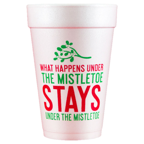 Pre-Printed Styrofoam Cups<br> Under the Mistletoe
