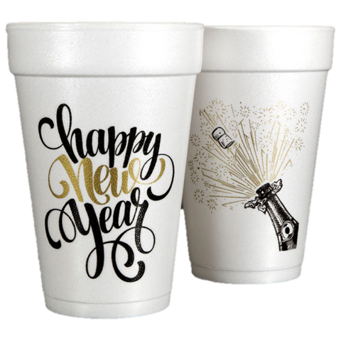Pre-Printed Styrofoam Cups<br> Happy New Year Script