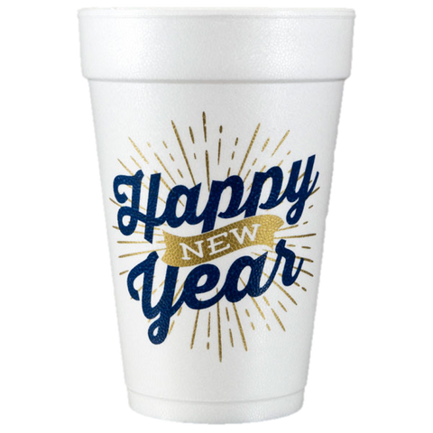 Pre-Printed Styrofoam Cups<br> Happy New Year Banner