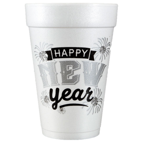 Pre-Printed Styrofoam Cups<br> Happy New Year Firework