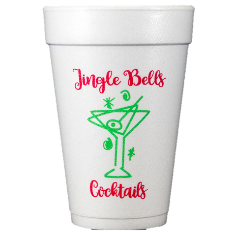 Pre-Printed Styrofoam Cups<br> Jingle Bells Cocktails
